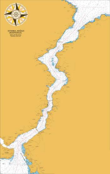 Boszporusz tengerészeti térképe - Forrás: gemitrafik.com